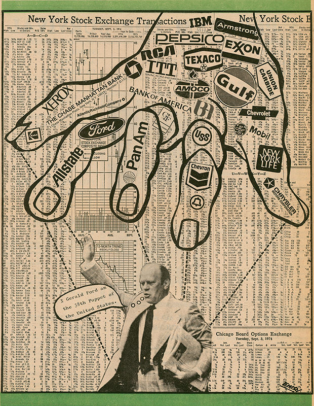 "Emory Douglas artwork: ""Untitled (I Gerald Ford am the 38th Puppet of  the United States.)"""