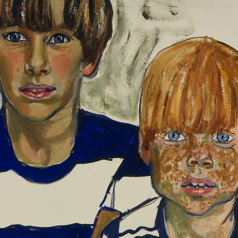 Detail of John and Joey Priestly by Alice Neel